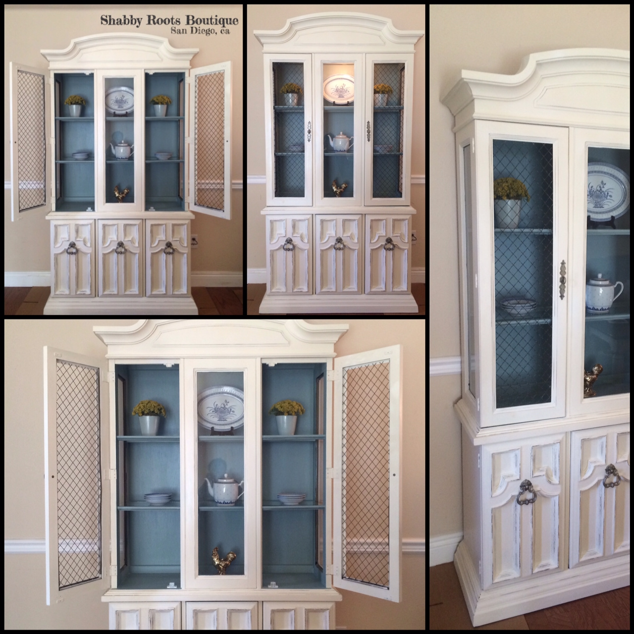Antique Shabby Chic China Cabinet