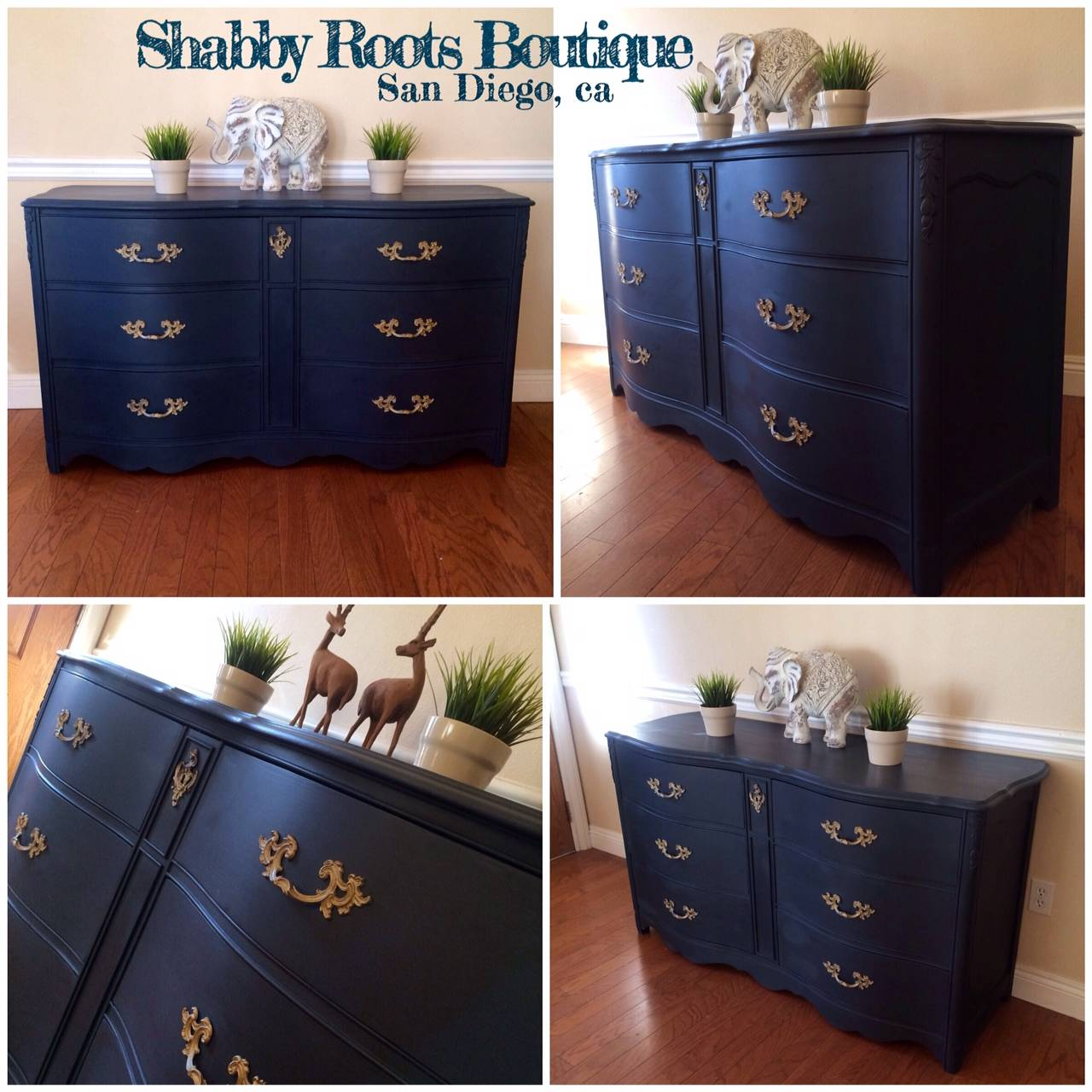 Navy Blue Bowed Front Antique Dresser Shabby Roots Boutique