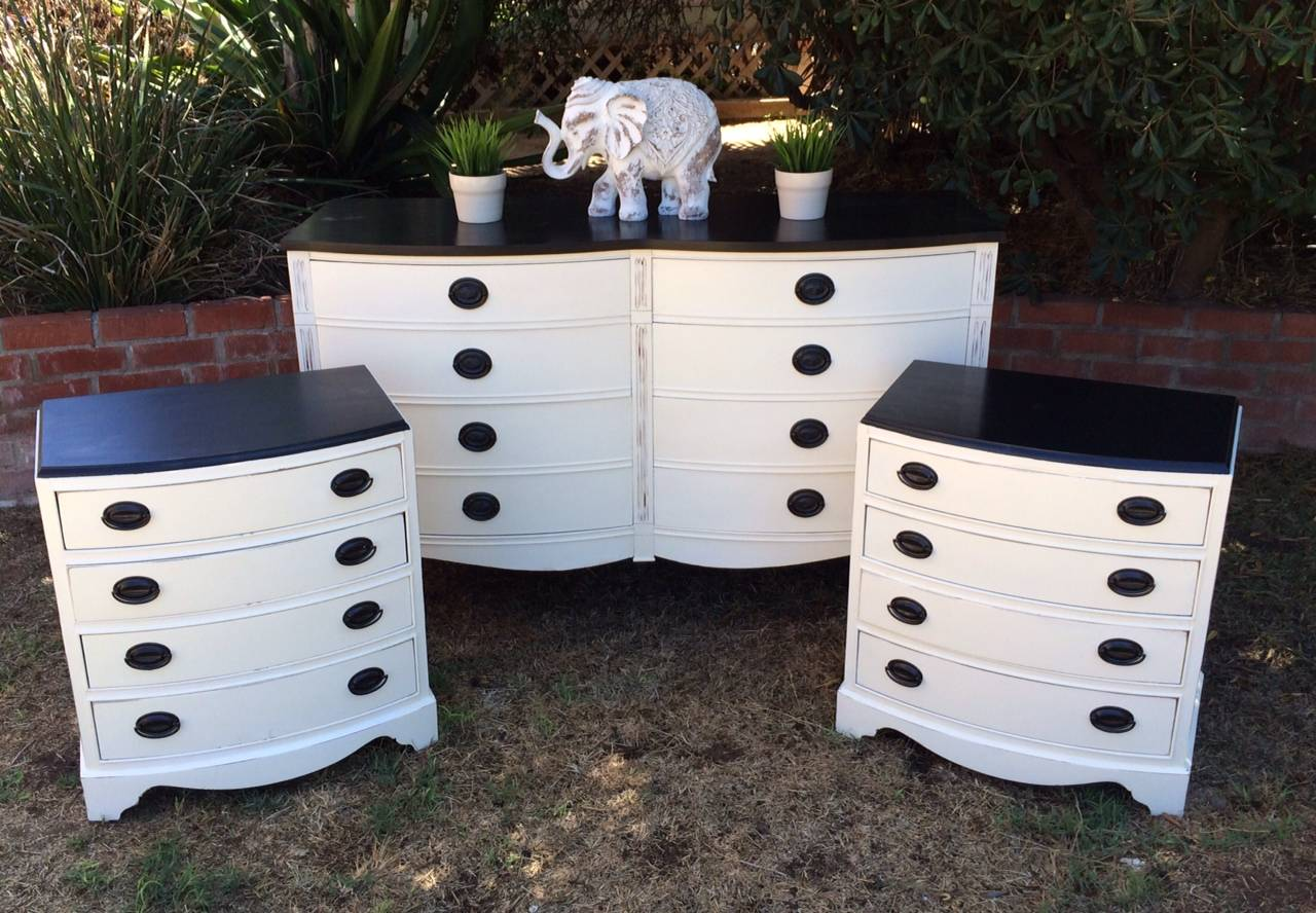White And Black Mahogany Bedroom Set Shabby Roots Boutique