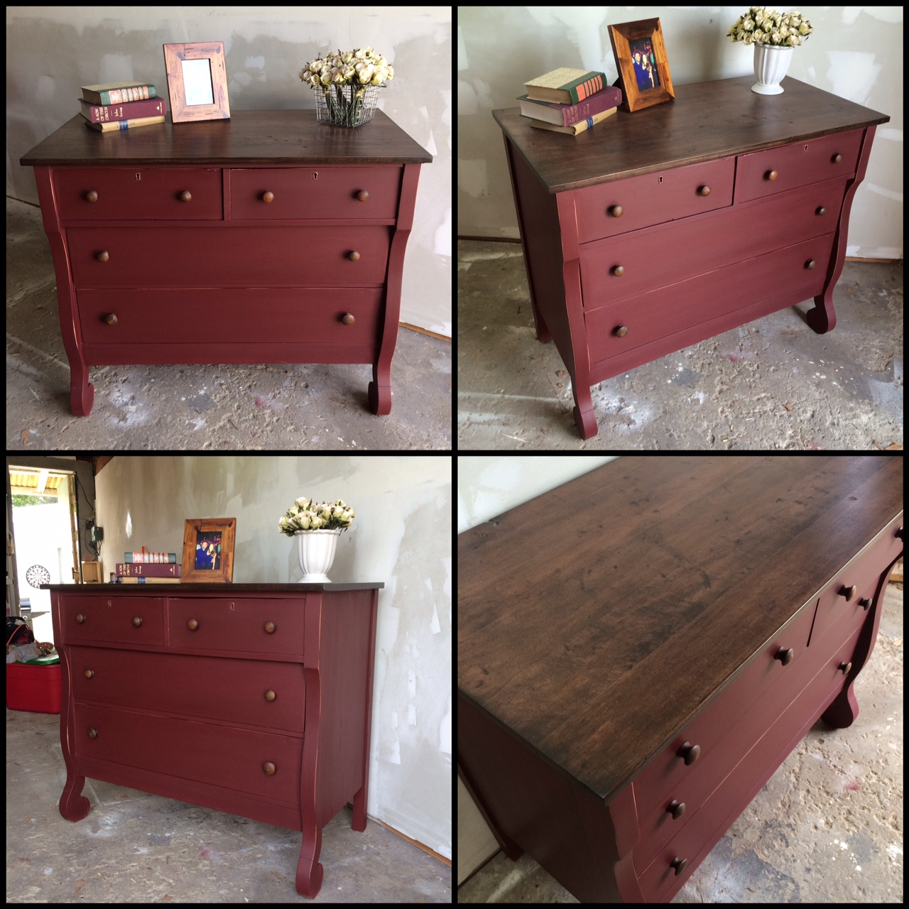 painted reclaimed wood dresser