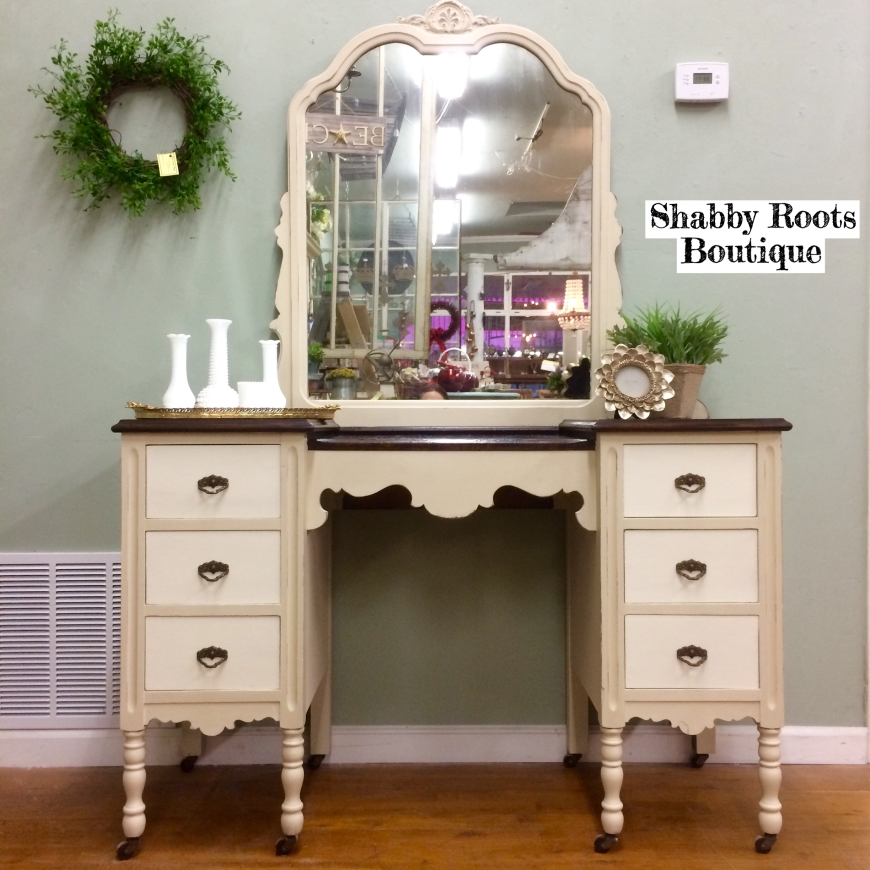 image - Cream And White Antique Vanity Shabby Roots Boutique
